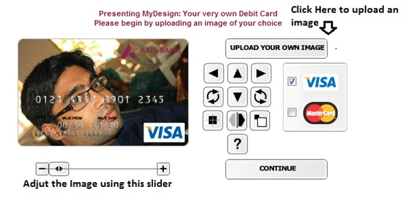 Customized Axis bank debit card image