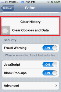 Clear Cookies & Data on iPhone