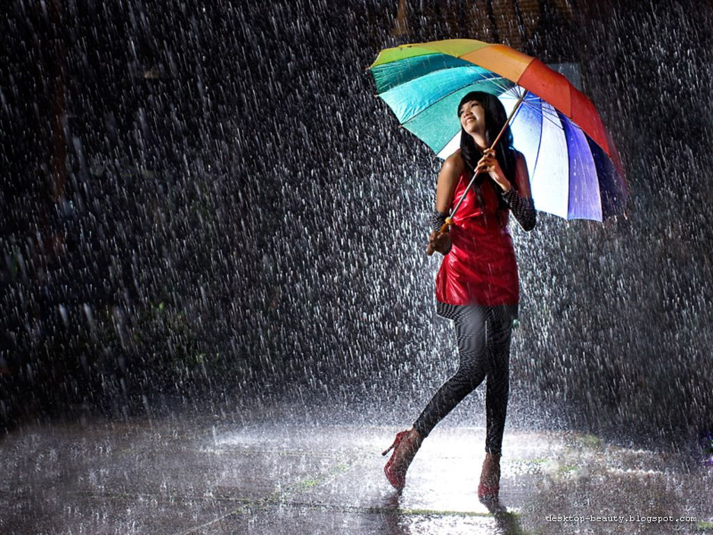 Girl in Rain Android Wallpapers 2